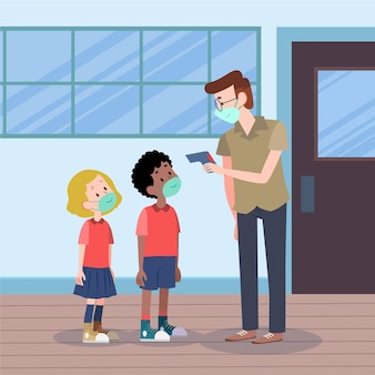 Nauczyciel sprawdza temperaturę dzieci