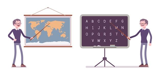 Nauczyciel stoi na mapie