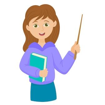 Nauczyciel trzyma książkę i różdżkę