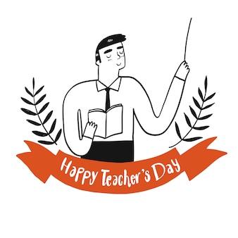Nauczyciel trzyma książkę ze znakiem dnia szczęśliwego nauczyciela.