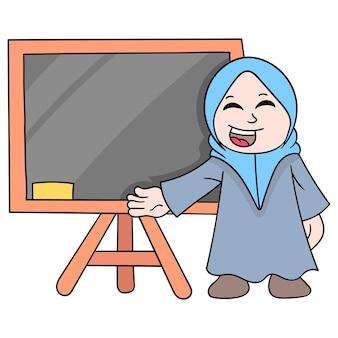 Nauczyciel, ubrany w piękny muzułmański hidżab, stoi przed tablicą, gotowy do wyjaśnienia lekcji, ilustracji wektorowych. doodle ikona obrazu kawaii.