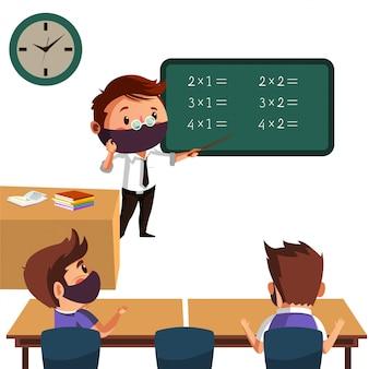 Nauczyciel uczy swojego ucznia z dystansem fizycznym i ma nową normę