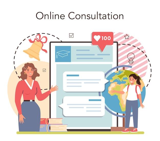Nauczyciel usługi online lub profesor platformy prowadzący lekcję w klasie