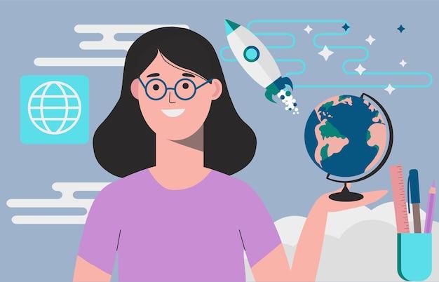 Nauczyciel w klasie geografii. charakter kobiety nauczyciela. lekcja online.