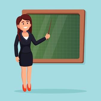 Nauczyciel w pobliżu tablicy w klasie. kobieta uczy lekcji ze wskaźnikiem