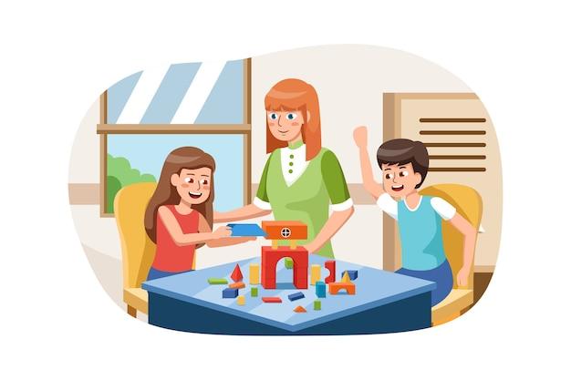 Nauczyciel w przedszkolu z dziećmi bawiącymi się kolorowymi drewnianymi zabawkami dydaktycznymi w przedszkolu.