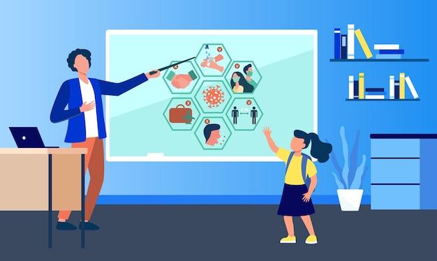 Nauczyciel w szkole prezentuje infografiki koronawirusa. zakaz, ograniczenia, ilustracja wektorowa płaskie dzieci. epidemie, wirusy, zapobieganie rozprzestrzenianiu się