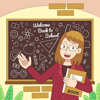 Nauczyciel wita z powrotem w szkole