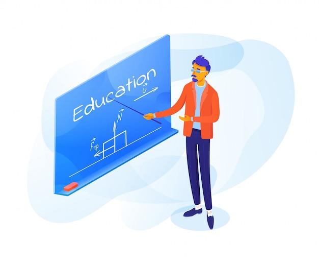 Nauczyciel, wskazując na tablicy ilustracji
