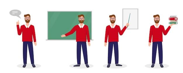 Nauczyciel, wykładowca lub profesor w różnych pozach.
