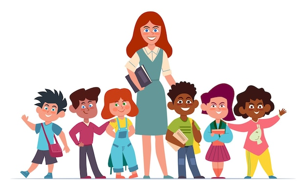Nauczyciel z dziećmi. szczęśliwa wieloetniczna grupa dziewcząt i chłopców w wieku szkolnym i kobieta pedagog kreskówka wektor koncepcja edukacji