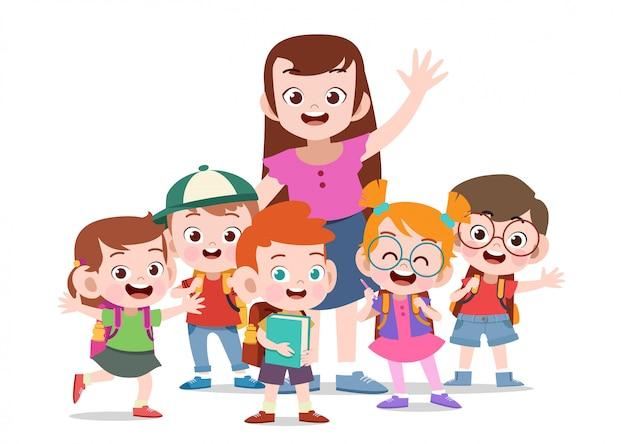 Nauczyciel z dziećmi
