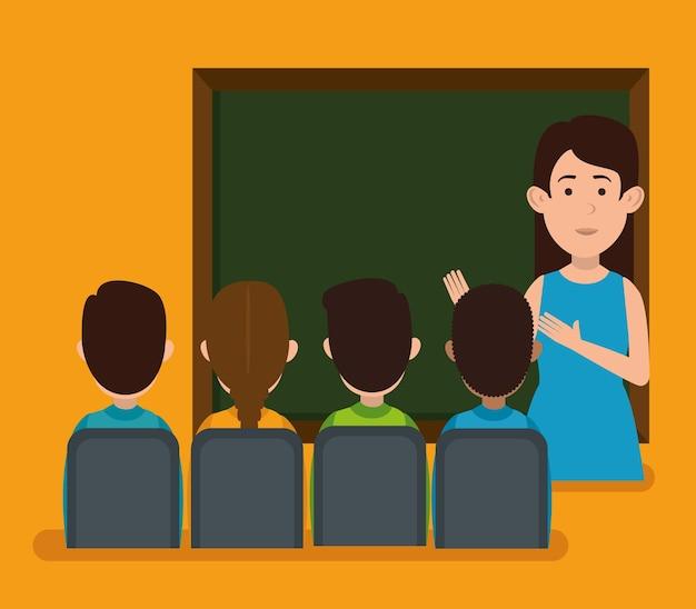Nauczyciel z postaciami ucznia