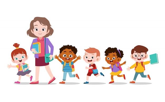 Nauczyciel ze szkołą dla dzieci