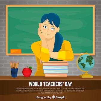 Nauczyciela dnia tło z żeńskim nauczycielem i blackboard w płaskim projekcie