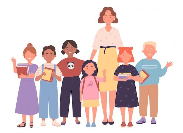 Nauczyciela i dzieciaków ludzie wpólnie wektorowej ilustraci