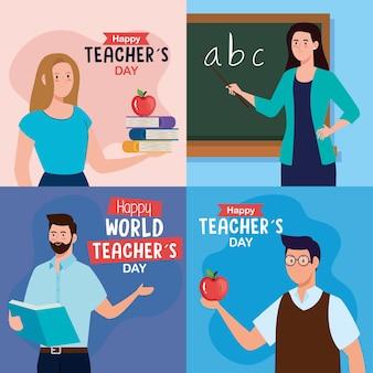 Nauczyciele mężczyzn i kobiet z projektem zielonej tablicy, obchody dnia szczęśliwego nauczyciela i motyw edukacji