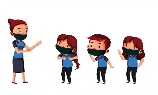 Nauczycielka i jej uczeń noszą maskę, dystansując się fizycznie podczas aktywności na świeżym powietrzu
