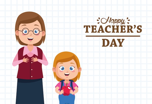 Nauczycielka kobieta z dziewczyna student podnoszenia znaków jabłka