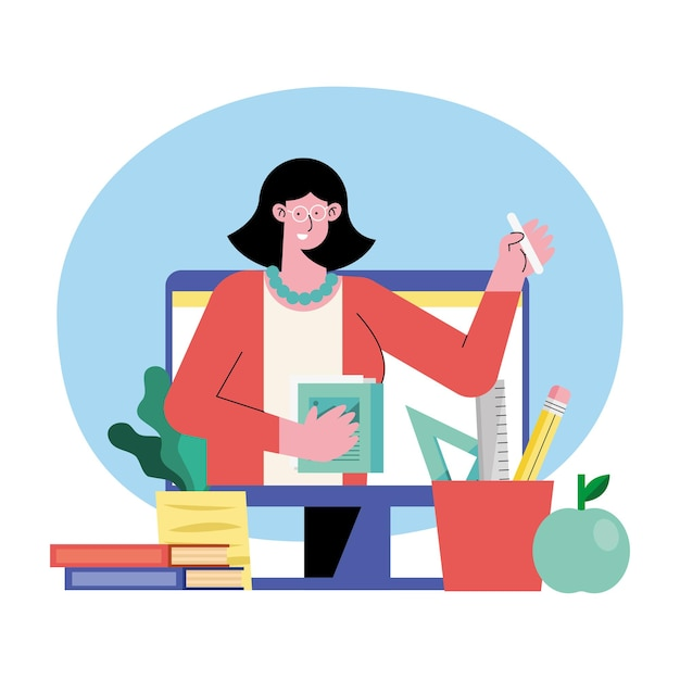Nauczycielka online ilustracja