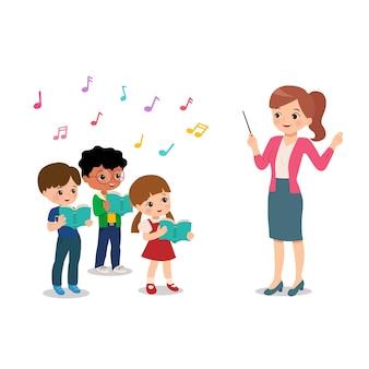 Nauczycielka prowadzi chór studencki podczas imprezy w szkole. muzyczne zajęcia pozalekcyjne. śpiewanie clipart. szczęśliwy chłopiec i dziewczynka śpiewają. kreskówka wektor płaski na białym tle.
