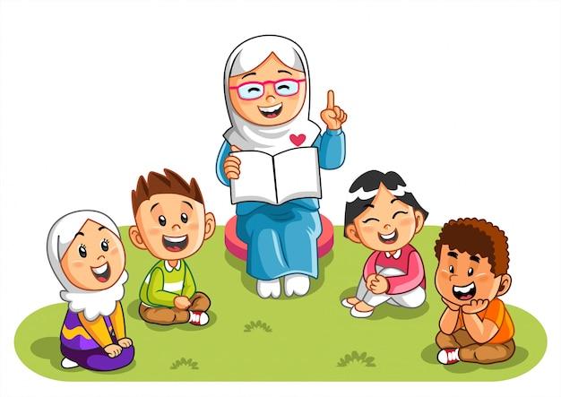 Nauczycielka wyjaśnia historię swoim uczniom