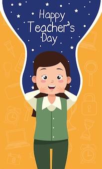 Nauczycielka z napisem dzień nauczyciela