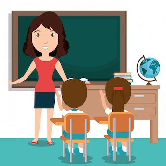 Nauczycielka z uczniami w klasie