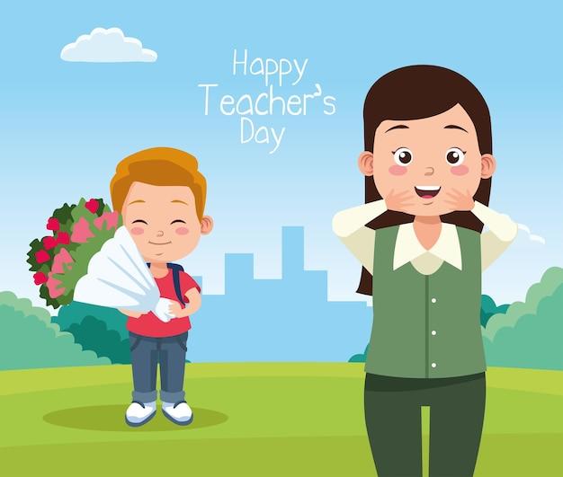 Nauczycielka z uczniem chłopiec podnoszenia kwiatów bukiet znaków