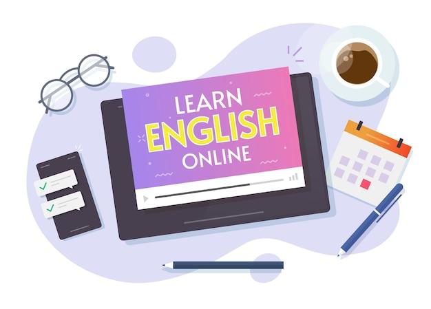 Nauka angielskiego online kursów wideo na komputerze typu tablet na płaskiej kreskówce biurka