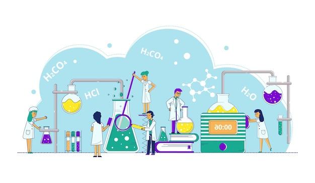 Nauka badania koncepcja wektor ilustracja drobna linia ludzie charakter zrobić eksperyment z gen dna...