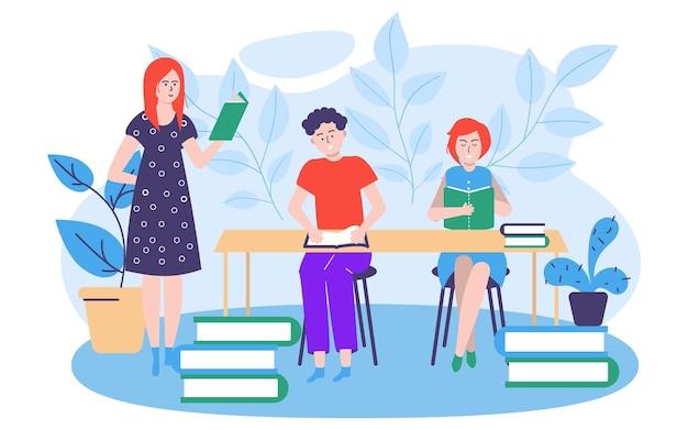 Nauka edukacji koncepcja wektor ilustracja ludzie mężczyzna kobieta charakter zdobyć wiedzę na zajęciach szkolnych...