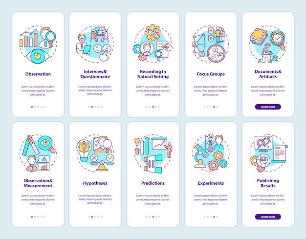 Nauka i badania naukowe wprowadzające ekran strony aplikacji mobilnej z ustawionymi koncepcjami. publikacja wyników. 5 kroków instrukcji graficznych. szablon ui z kolorowymi ilustracjami rgb
