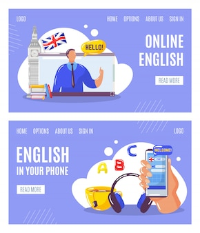 Nauka języka angielskiego online z nauczycielem, edukacja w telefonach internetowych banery zestaw ilustracji.