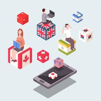 Nauka języków obcych ilustracja koncepcja. płaski izometryczny 3d z flagami krajów, ludzi i telefonu komórkowego.