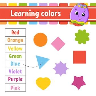 Nauka kolorów. arkusz rozwijający edukację. jajko wielkanocne. strona aktywności ze zdjęciami.