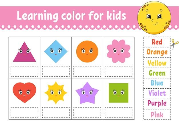 Nauka kolorów dla dzieci. arkusz rozwijający edukację.