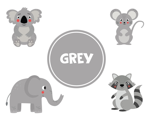 Nauka kolorów podstawowych dla dzieci. śliczne obrazki w szarym kolorze. gra edukacyjna dla dzieci. strony aktywności dla edukacji domowej. ćwiczenie kolorów.