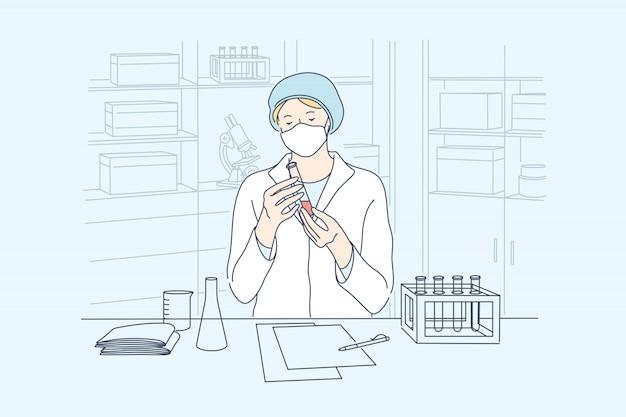 Nauka, koronawirus, koncepcja szczepionek medycznych.