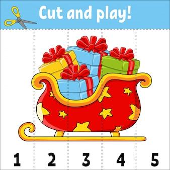 Nauka liczb 1-5. wytnij i graj. sanie świąteczne arkusz edukacyjny.
