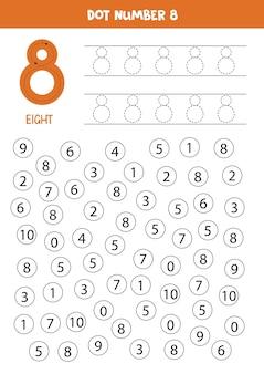 Nauka liczb z dziećmi. numer osiem. kropuj wszystkie cyfry 8. gra matematyczna dla dzieci.