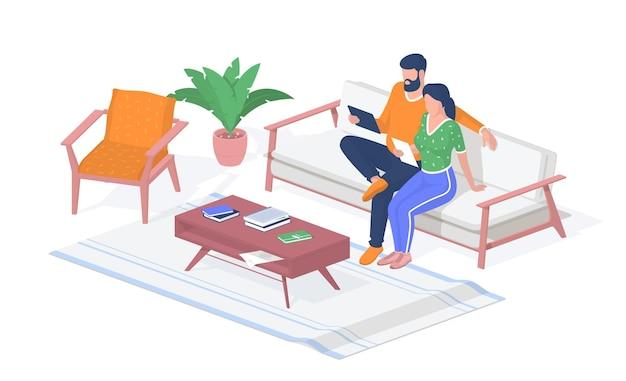 Nauka na odległość w domu. dziewczyna i facet siedzi kanapa z tabletami. stół z książkami i notatkami. wykłady online, szkolenia wideo. edukacja cyfrowa w pandemii koronawirusa. realistyczna izometria wektorowa