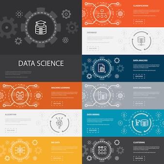 Nauka o danych infografika 10 linii ikon banners.machine learning, big data, baza danych, klasyfikacja prostych ikon