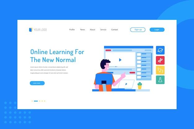Nauka Online Dla Nowego Normalnego Na Landing Page Premium Wektorów