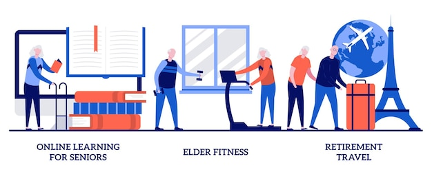 Nauka online dla seniorów, starszych fitness, koncepcja podróży emerytalnych z małymi ludźmi. emeryci i renciści styl życia streszczenie wektor ilustracja zestaw. para dziadków planowania podróży metafora.