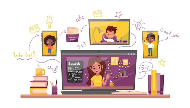 Nauka online ilustracji wektorowych. nauka w domu, test online, koncepcja nauczania na odległość v