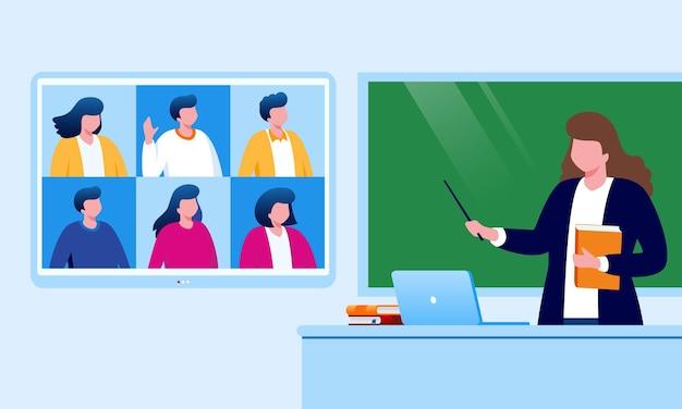 Nauka online lub e-learning ilustracja wektorowa płaska na baner