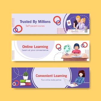Nauka online projekt szablonu baneru na stronie internetowej, reklamuj akwarelę