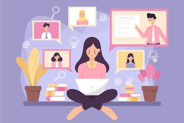 Nauka online za pomocą połączenia wideo. .