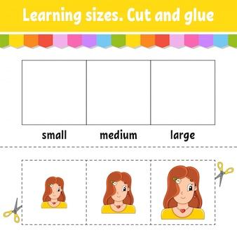 Nauka rozmiarów. wyciąć i skleić. łatwy poziom. arkusz aktywności kolorów.